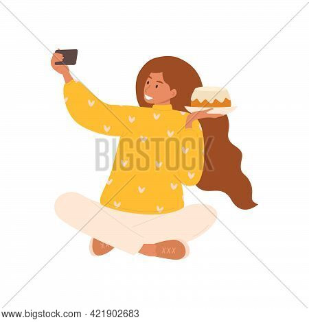 Flat Vector Cartoon Illustration Of A Female Blogger Taking A Selfie With A Pastry For A Blog Review