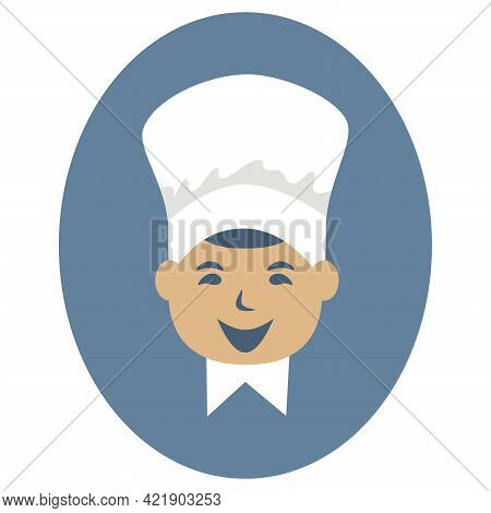 Funny Cook Icon On Blue Ellipse Background. Young Cook In Chef's Hat. Front View. Chef Smiling. Isol