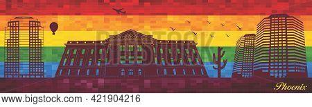 Phoenix On Lgbt Flag Background - Illustration,  Town In Rainbow Background,  Vector City Skyline Si