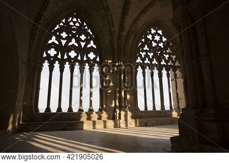 Lleida, Spain, May 1, 2020 - Typical Gothic Architecture La Seu Vella Cathedral. Light And Shadows I