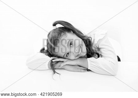 Schoolgirl Cute Ponytail Hairstyle. Excellent Pupil Lean On Desk Isolated White. Perfect Schoolgirl