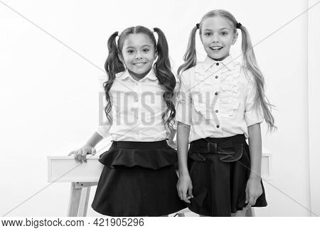 Example To Follow. Schoolgirls With Cute Pony Tails Hairstyle. Best Friends Excellent Pupils. Perfec