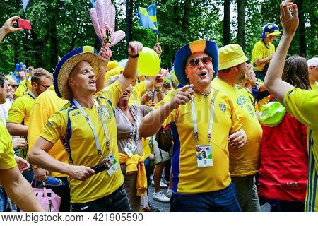 St. Petersburg, Russia - July 3, 2018: Swedish Fans Parade. Supporters Of Sweden National Football T