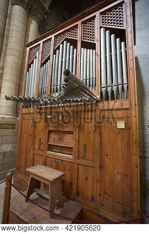 Lleida, Spain, May 1, 2020 - Medieval Organ Of La Seu Vella Cathedral. Religious Music, Church Acous