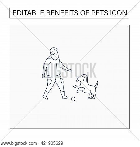 Pets Benefits Line Icon. Puppy Provide Companionship. Man Plays With Dog.animal Caring Concept. Isol