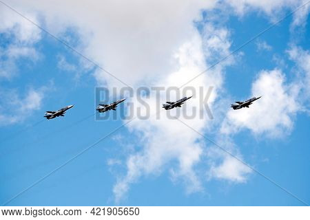 Moscow, Russia - May 7, 2021: Group Of Russian Military Tactical Frontline Bombers Su-24 Fast Flying