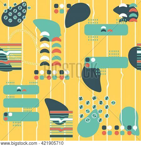 Abstract Geometric Summer Bright Shape Silhouette Seamless Pattern. Yellow Blue White Vector Illustr