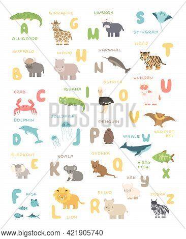 Cute Cartoon Simple Savannah And Forest Animals And English Alphabet Poster. Vector Educational Illu