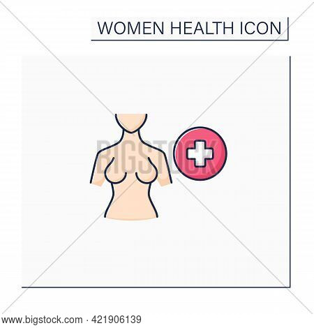 Breast Health Color Icon. Mammograms And Breast Ultrasounds.selfcare.required Female Examination. Wo