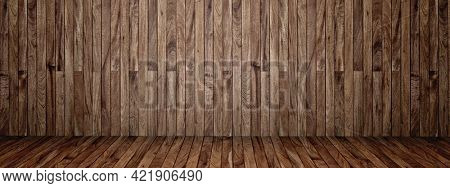 Concept conceptual vintage or grungy brown background of natural wood or wooden old texture floor and wall as a retro pattern layout. A 3d illustration metaphor to time, material, emptiness,  age
