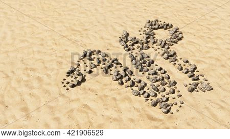 Concept conceptual stones on beach sand handmade symbol shape, golden sandy background, capricorn zodiac sign. 3d illustration symbol for  esoteric, the mystic, the power of prediction of astrology