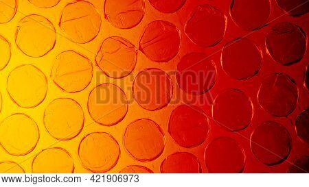 Orange plastic bubble wrap background