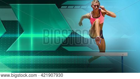 Composition of female athlete hurdle jumping with green arrows. sports and competition concept digitally generated image.