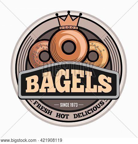 Bagels Logo Design Template. Emblem, Label, Sticker Elements For Cafe And Bakery Shop. Vector Illust
