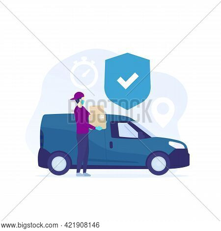 Safe Delivery, Courier In Mask Holding Boxes