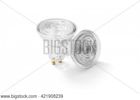 LED lamps with GU10 socket on white background, including clipping path