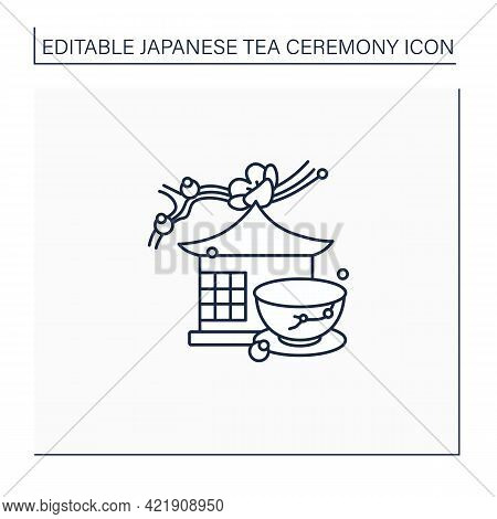 Tea Room Line Icon. Special Place For Tea Ritual. Japanese Ethnic And National Ceremony.unique Handm