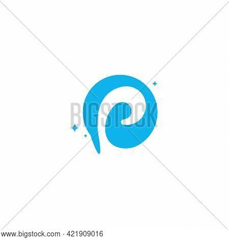 Initial Letter P Swoosh Orbit Logo Designs Vector, P Initial Logo For Kids Logo Template In Blue Bac