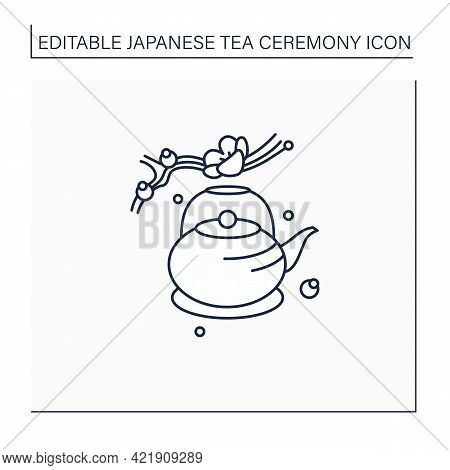 Japanese Teapot Line Icon. Ancient Kettle For Tea Ceremony And Sakura Twig. Trendy Traditional Teapo