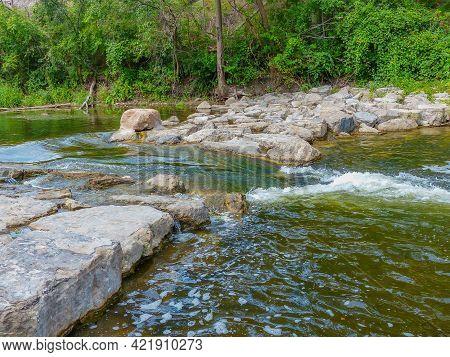 Rapids Along The Huron River In Ann Arbor - Michigan