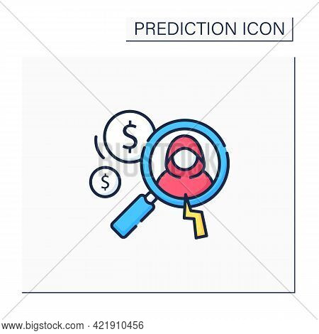 Detecting Fraud Color Icon. Fraudulent Schemes. Deception. Criminal Acts. Careful Research. Predicti
