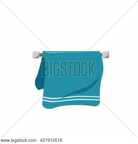 Vector Blue Towel With White Stripes On The Towel Rack, Isolated On A White Background. Bathroom Ite