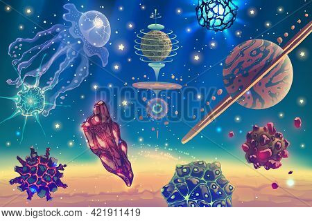 Magic Space Landscape With Fantasy Planets, Stars, Sun, Galaxies, Asteroids, Nebulas Over Deep Blue