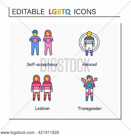Lgbtq Collections Line Icons. Self Acceptance. Sexual Orientations. Asexual, Lesbian, Transgender. L