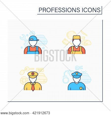 Professions Color Icons Set. Taxi Driver, Policeman, Auto Mechanic, Butcher. Various Professions. Im