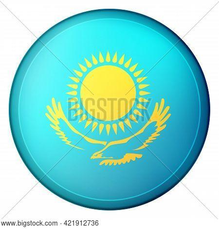 Glass Light Ball With Flag Of Kazakhstan. Round Sphere, Template Icon. Kazakh National Symbol. Gloss