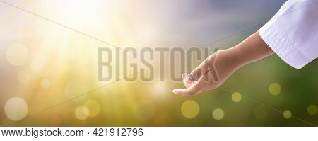 World Environment Day Concept: Giving A Helping Hand In Summer In The Spring Background