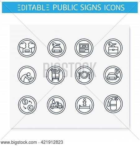 Public Place Signs Line Icons Set.clear And Informative Signage. Outdoor And Indoor Use. Universal P