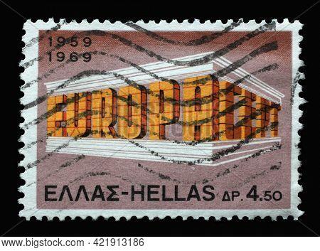 ZAGREB, CROATIA - JUNE 25, 2014: Stamp printed in Greece shows EUROPA CEPT Building Colonnade, circa 1969