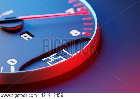 3d Illustration  Of The Tachometer Of A Modern Car Shows A 251 Km H , Maximum Number, Red And Black