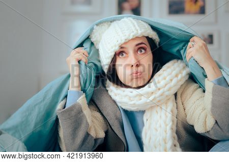 Unhappy Woman Feeling Cold Wearing Warm Winter Clothes Indoors
