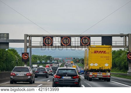 Germany - August 2015: Car Traffic The Autobahn In Germany