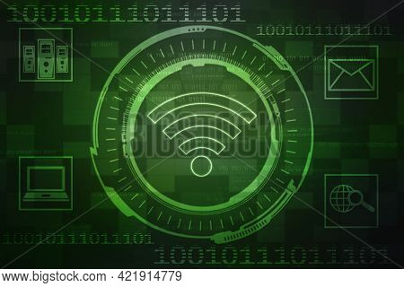 2d Illustration Wifi Symbol Sign, Wifi Internet Network Connection Background, Wireless Network Conn