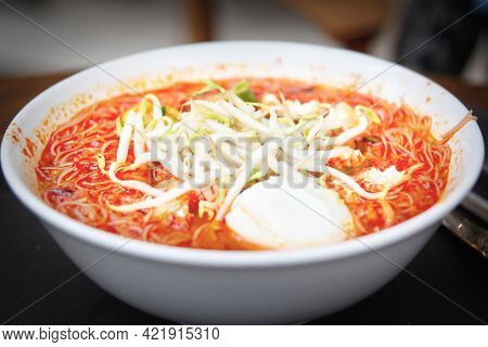 A Bowl Of Singapore Mee Siam, A Popular Local Dish Of Malay Origins Consisting Of Rice Stick Vermice