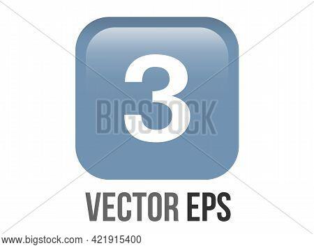 Vector Shinny Gradient Blue Keycap White Digit Three Icon Button