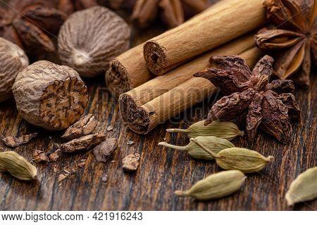 Spices Set. Various Cooking Spices, Anise, Cardamom, Nutmeg, Cinnamon