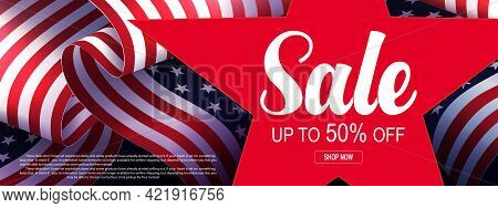 Solemn Illustration With Elements Of The Flag Of America, Silhouette Of A Big Red Star, Design Compo