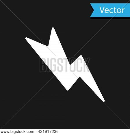 White Lightning Bolt Icon Isolated On Black Background. Flash Sign. Charge Flash Icon. Thunder Bolt.