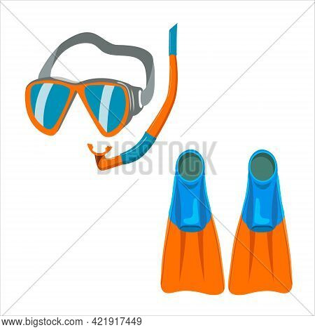 Underwater Swimming Mask, Fins, Vector Isolated On White Background.