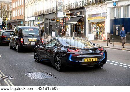 London, United Kingdom - Mar 9, 2017: Rear View Of Luxury New Electric Bmw I8 Edrive Car On British