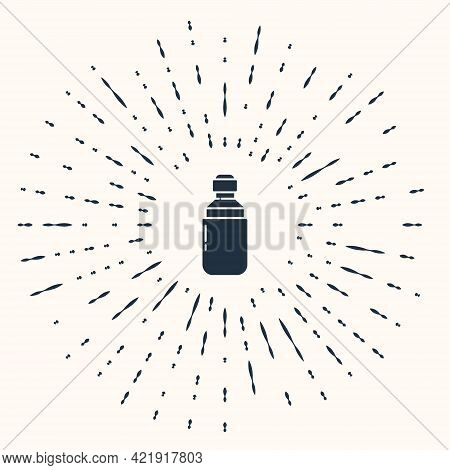 Grey Medical Marijuana Or Cannabis Leaf Olive Oil Drop Icon Isolated On Beige Background. Cannabis E