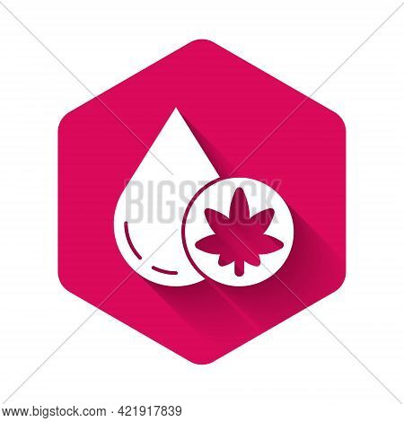 White Medical Marijuana Or Cannabis Leaf Olive Oil Drop Icon Isolated With Long Shadow. Cannabis Ext