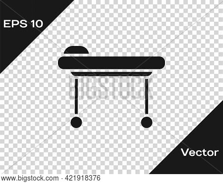 Black Stretcher Icon Isolated On Transparent Background. Patient Hospital Medical Stretcher. Vector