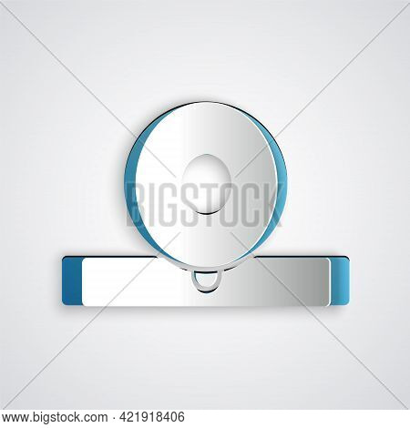 Paper Cut Otolaryngological Head Reflector Icon Isolated On Grey Background. Equipment For Inspectio