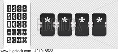 Vector Pin Code Template. Analog Countdown Number Font. Flip Number And Symbol Scoreboard On Transpa