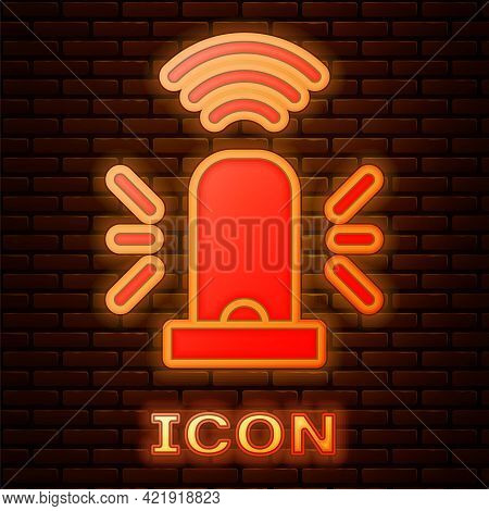 Glowing Neon Smart Flasher Siren System Icon Isolated On Brick Wall Background. Emergency Flashing S
